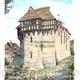 STOKESAY CASTLE vertical from the path by the church. Greeting card or bespoke notelet. Prints and postcards available.