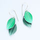 LC1 Double leaf drop earrings in green/grey green