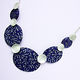 AL19 Silver and indigo multiple ovals necklace