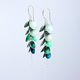 CD24 Multiple concave disc drop earrings in grey green/forest/petrol
