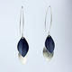 LC2 Double leaf drop earrings in silver and indigo