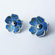 BL1  Blossom stud earrings in blue
