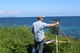 Me working with my take it easel, in Portscatho, Cornwall