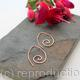 Ammonite open pointed spiral tribal earrings - 1mm copper wire