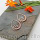 Embellished Ammonite open pointed spiral tribal earrings - 1mm copper and faceted Rose Quartz