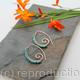 Embellished Ammonite open pointed spiral tribal earrings - 1mm copper and faceted Turquoise