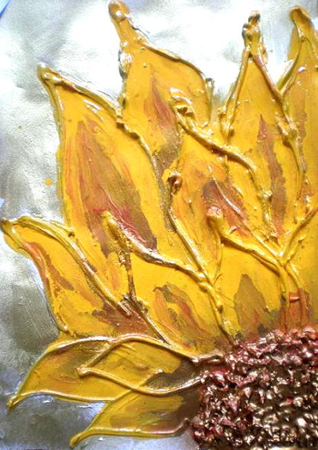 Sunflower Delight Mixed media sunflower painting. 39x47cm