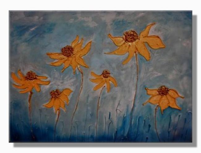 Dancing Daisies Mixed media on canvas. FOR SALE 80x60cm