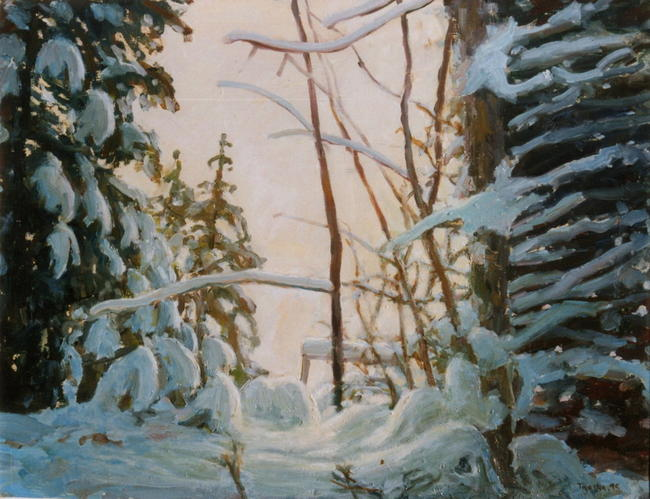 snow in poland oil on board 45x30cm