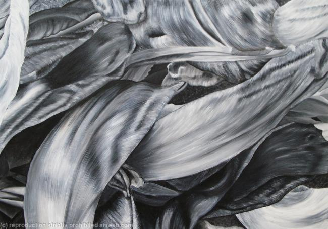 Tulipmania 4 - Black and White Oil on Canvas 84x60cm