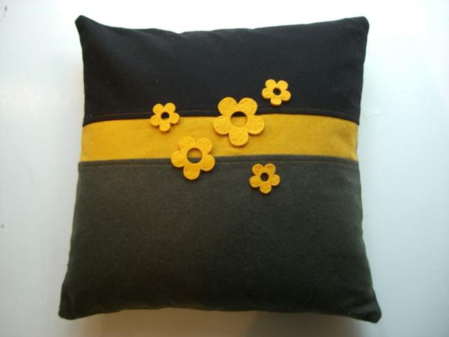 Mustard felt flower applique Cashmere, Wool and Corduroy 46x46cm