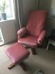 Pink Recliner with Footstool