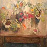 table with nasturtiums