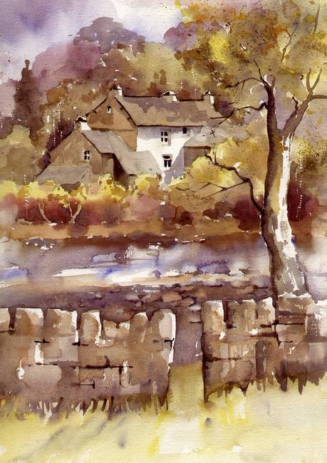 BECK STEPS COTTAGE, ELTERWATER watercolour on Arches 41x51cm