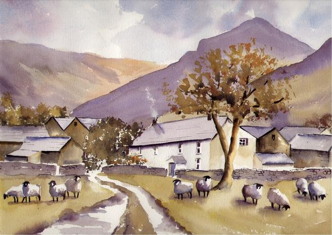 Stonethwaite in Borrowdale watercolour on Arches 66x51cm