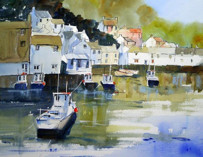 Polperro morning watercolour on Arches width=