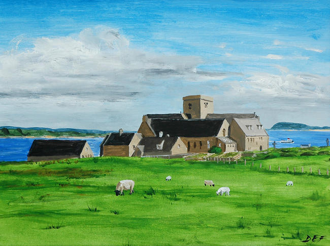 Iona Abbey from the North West Mounted print 30x25cm
