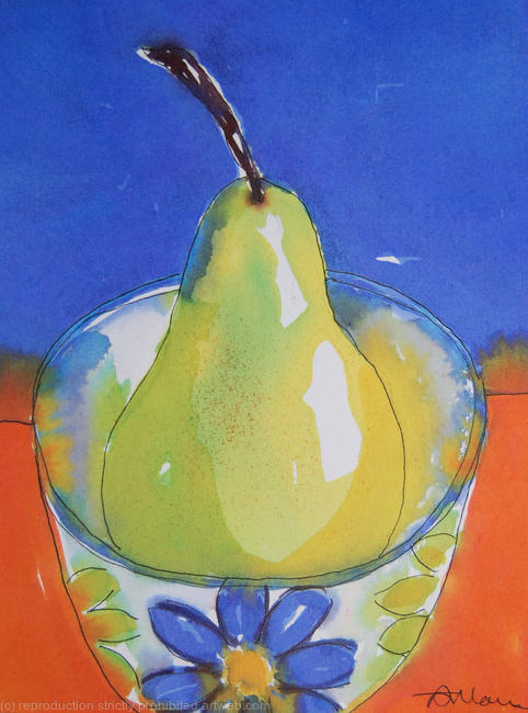 Green pear in bowl watercolour/ink on watercolour paper 13x18cm