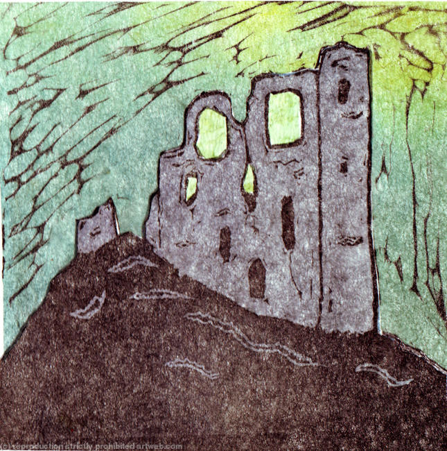 Clun Castle Linocut and collage 11x11cm