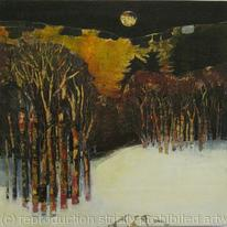 Patricia Lynch - Moonlight Over Winter Landscape