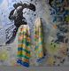 Mizuage Occasion painting draped with Summertime silk scarf