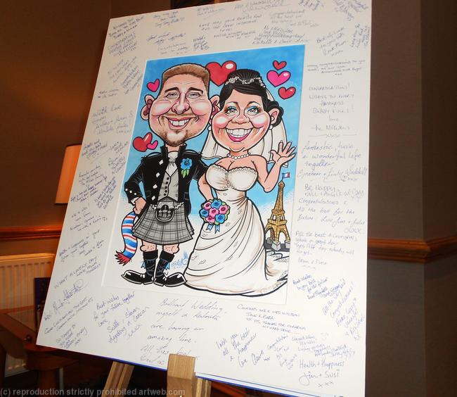 Bride And Groom Caricature Guest Signing Board By Edd Travers