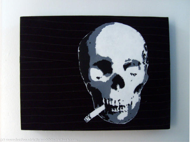 Smoking Skull Stencil by funky red dog