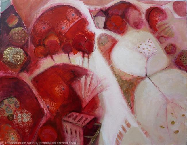 Red Ronda mixed media on canvas itemprop=